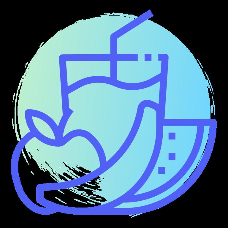 logotipo con vaso, manzana y sandía